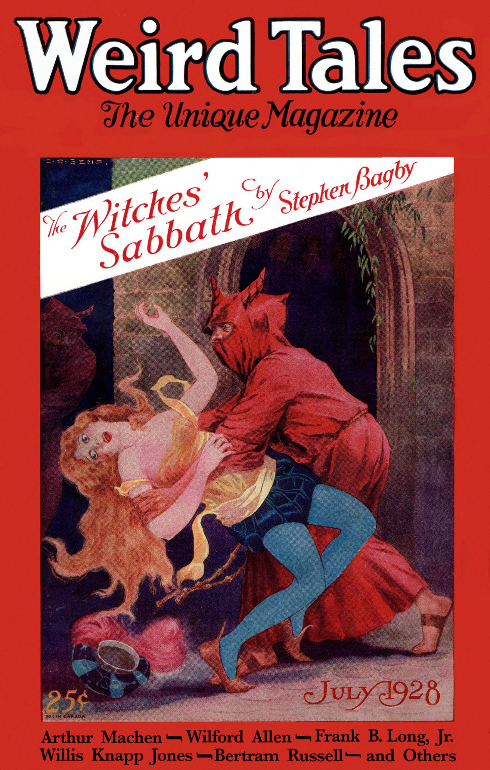 A C.C. Senf cover for Weird Tales, July 1928.  A redhead is meanced by a man in a red costume.