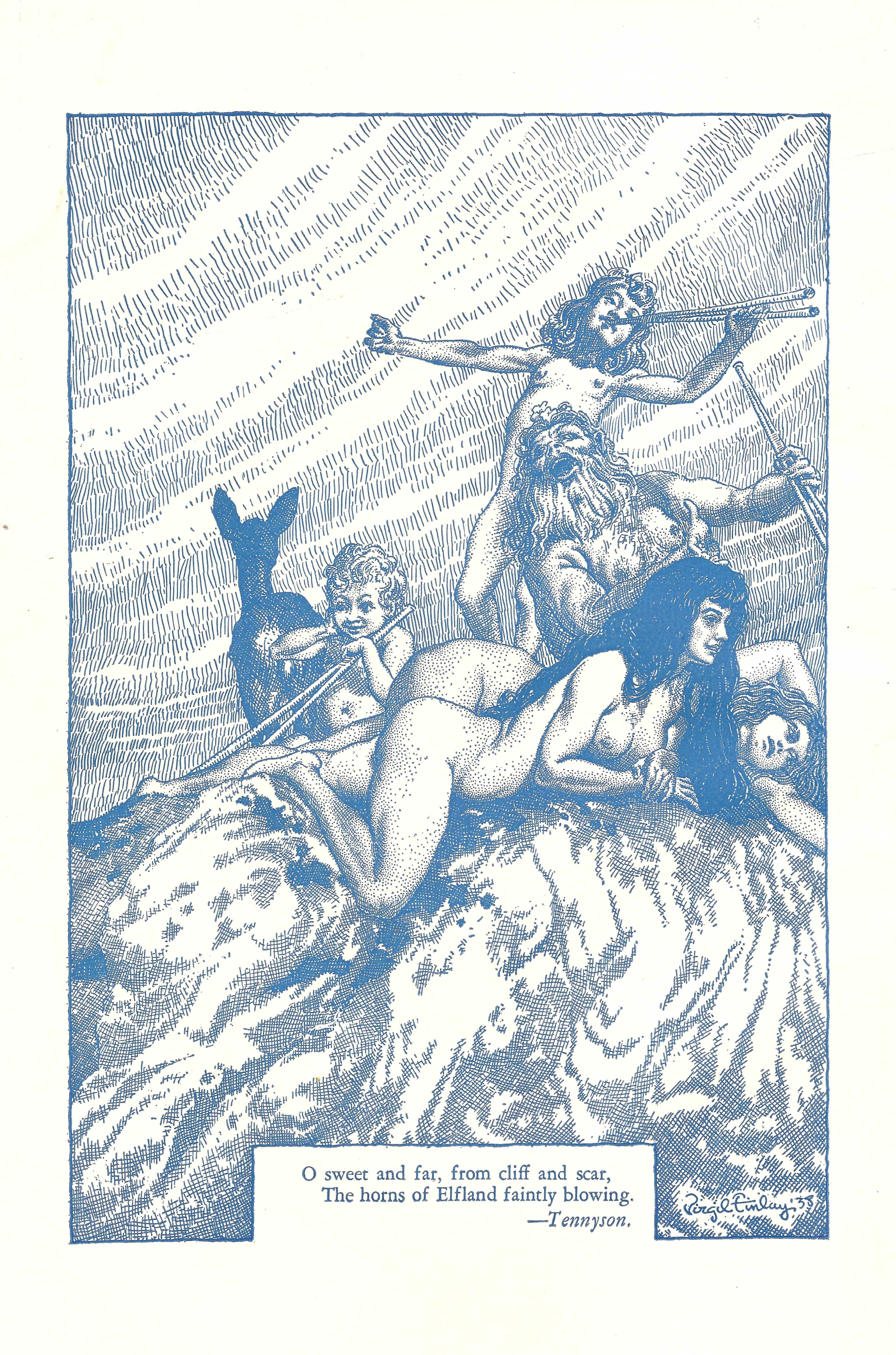 An inside-the-front cover illustration by Virgil Finlay that appeared in October 1938.