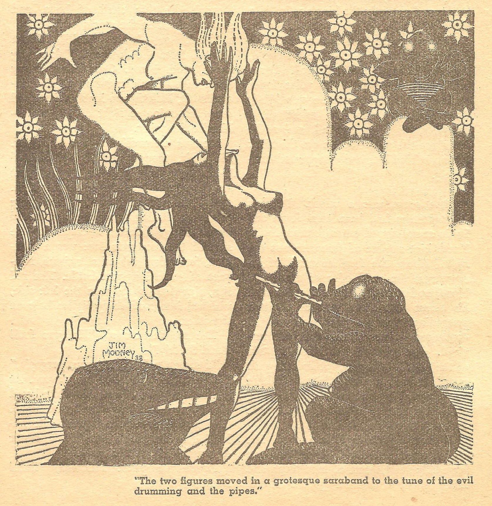 "Illustration by Jim Mooney for Henry Kuttner's story ""Beyond the Phoneix,"" which appeared in Weird Tales in October 1938."