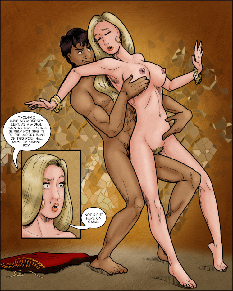 Naked Lucy is embraced from behind by her sexually aggressive dnacing partner.