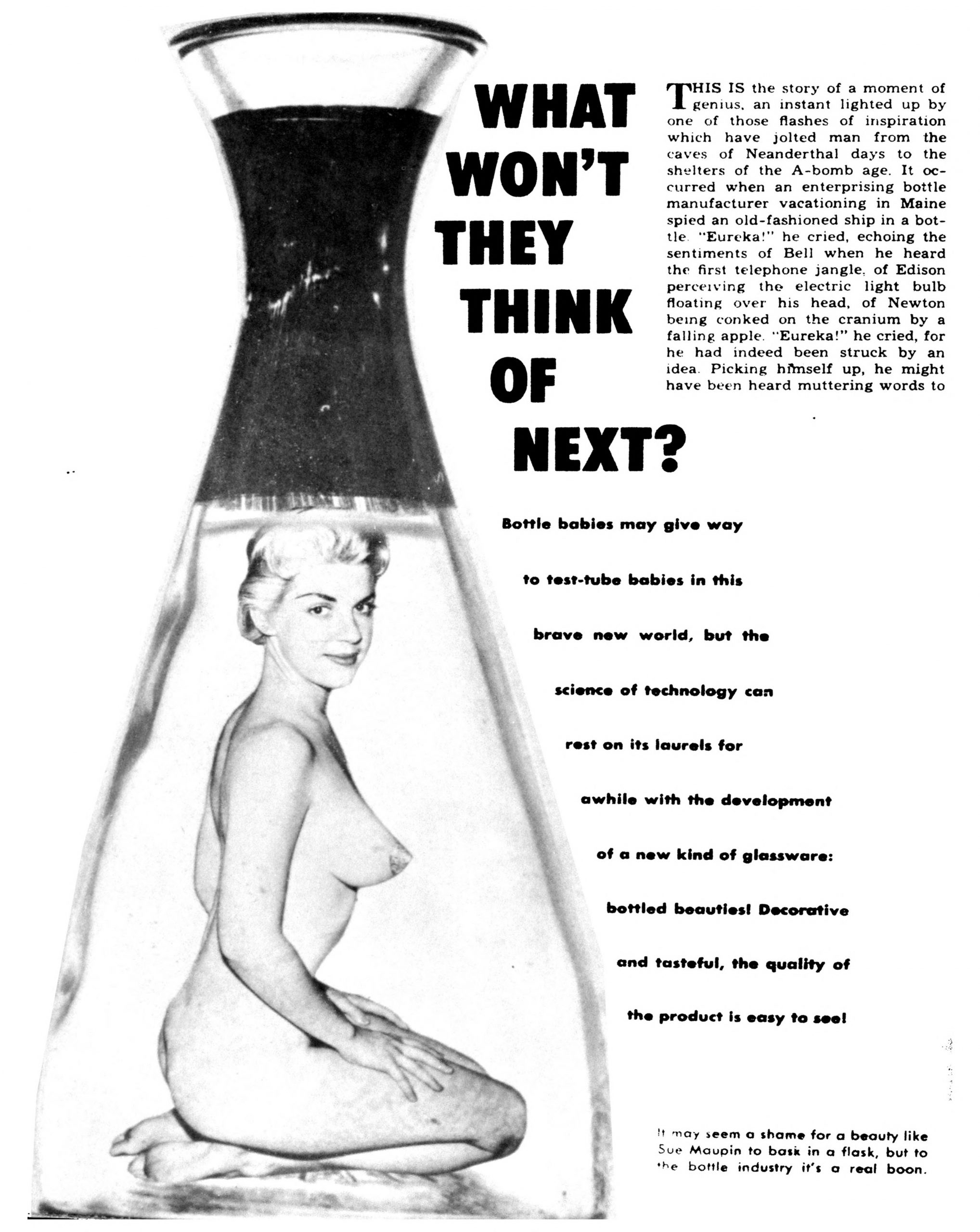 "First page of a photo essay on ""bottle girls"" from the July 1960 issue of Scamp.  Model Sue Mapin is depicted."