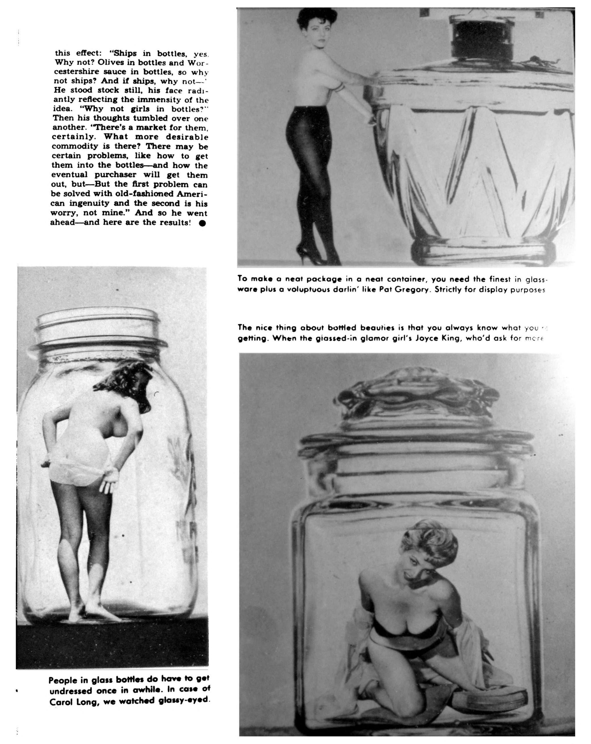 "Second page of Scamp's photo essay on ""bottled beautifies.""  Models Carol Long, Pat Gregory, and Joyce King are depicted."