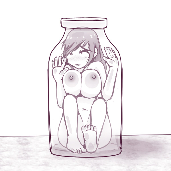 Bottled by InkGirls, a pen-and-ink drawing of a buxom naked girl trapped in an almost-too-small bottle.
