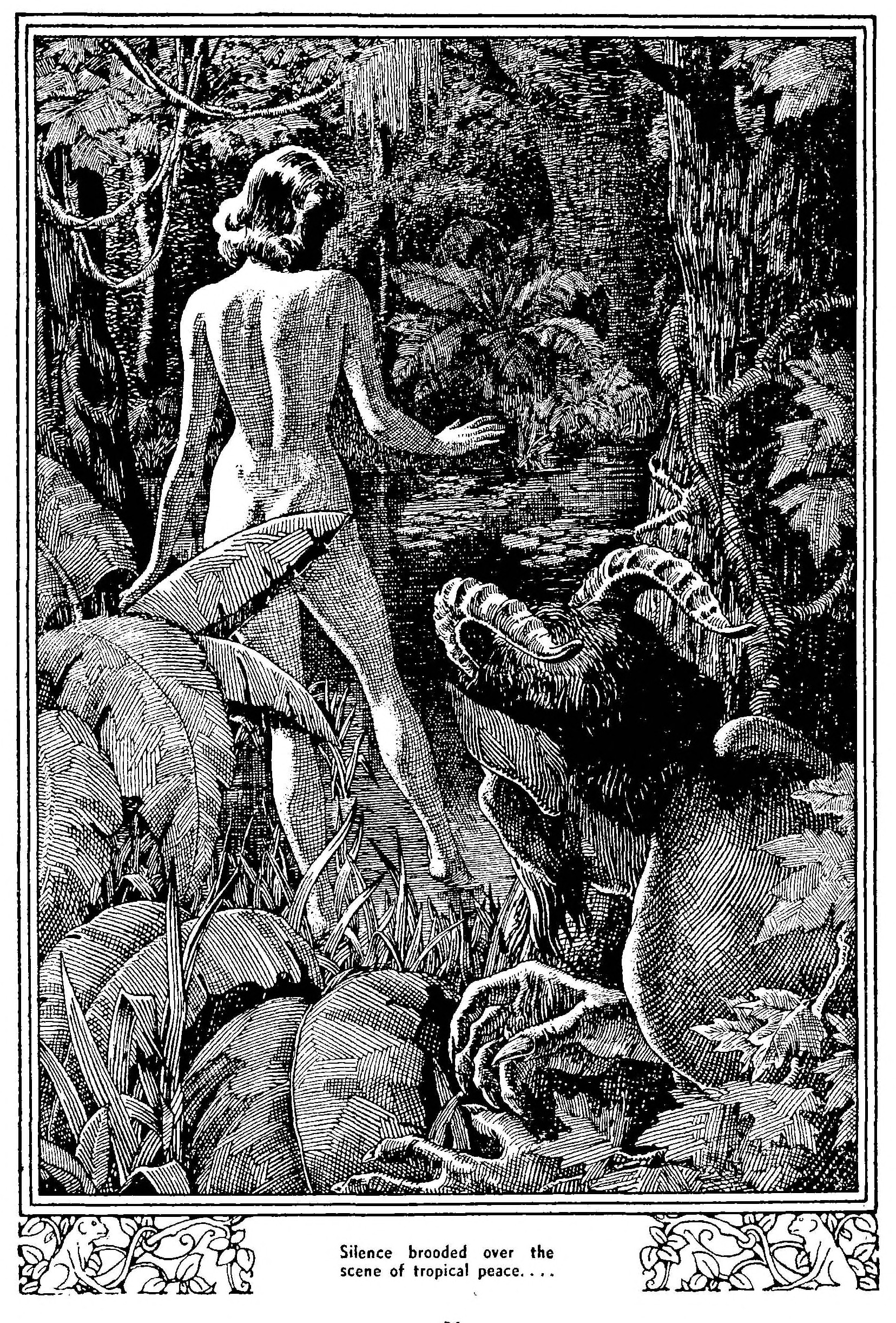 A black-and-white ink illustration of a nude woman i in a tropical scene.  An ominous clawlike hand can be seen at the base of the illustration.