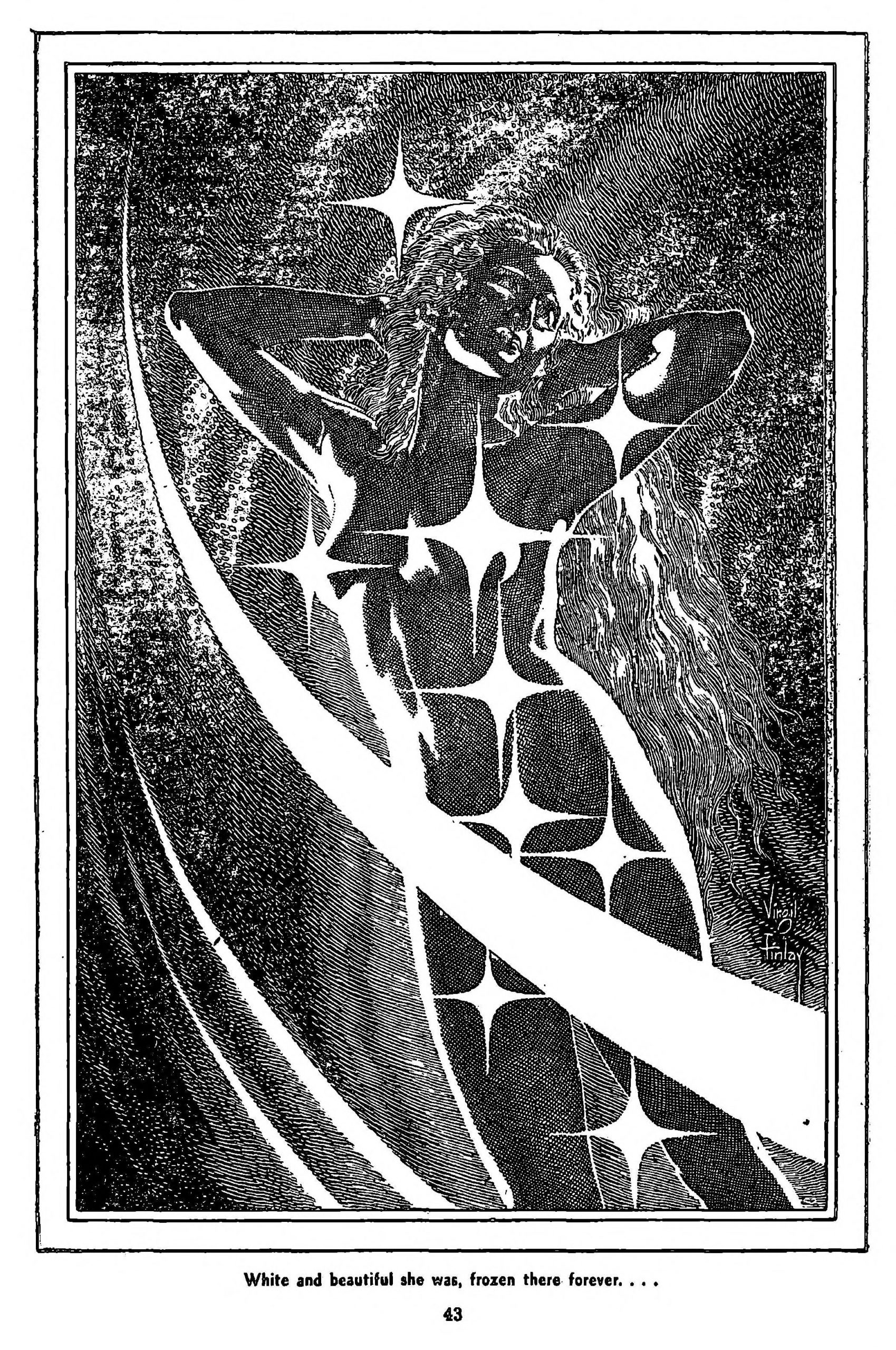 A nude woman encased in ice, as illustrated by Virgil Finlay.