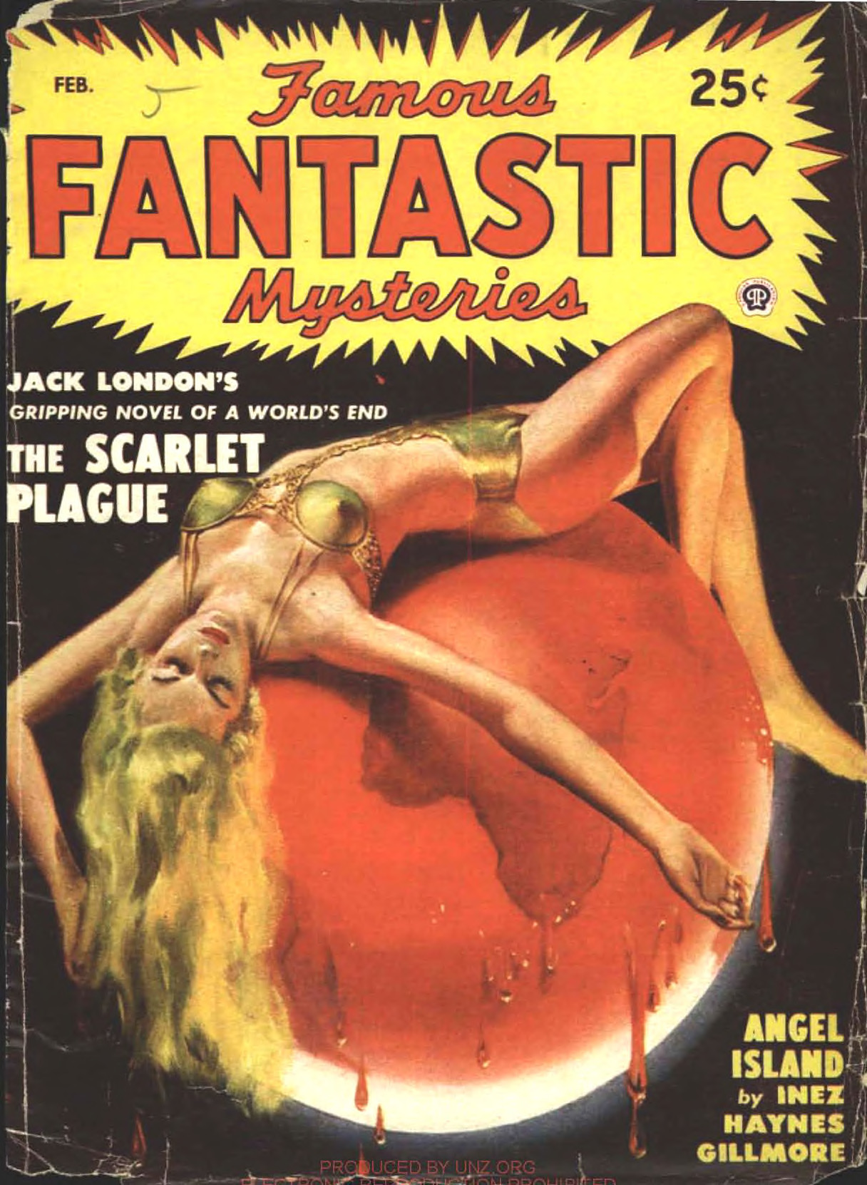 """A sexy woman draped over a scarlet planet earth, illustrating Jack London's story """"The Scarlet Plague"""" and executed by Lawrence Sterne Stevens."""