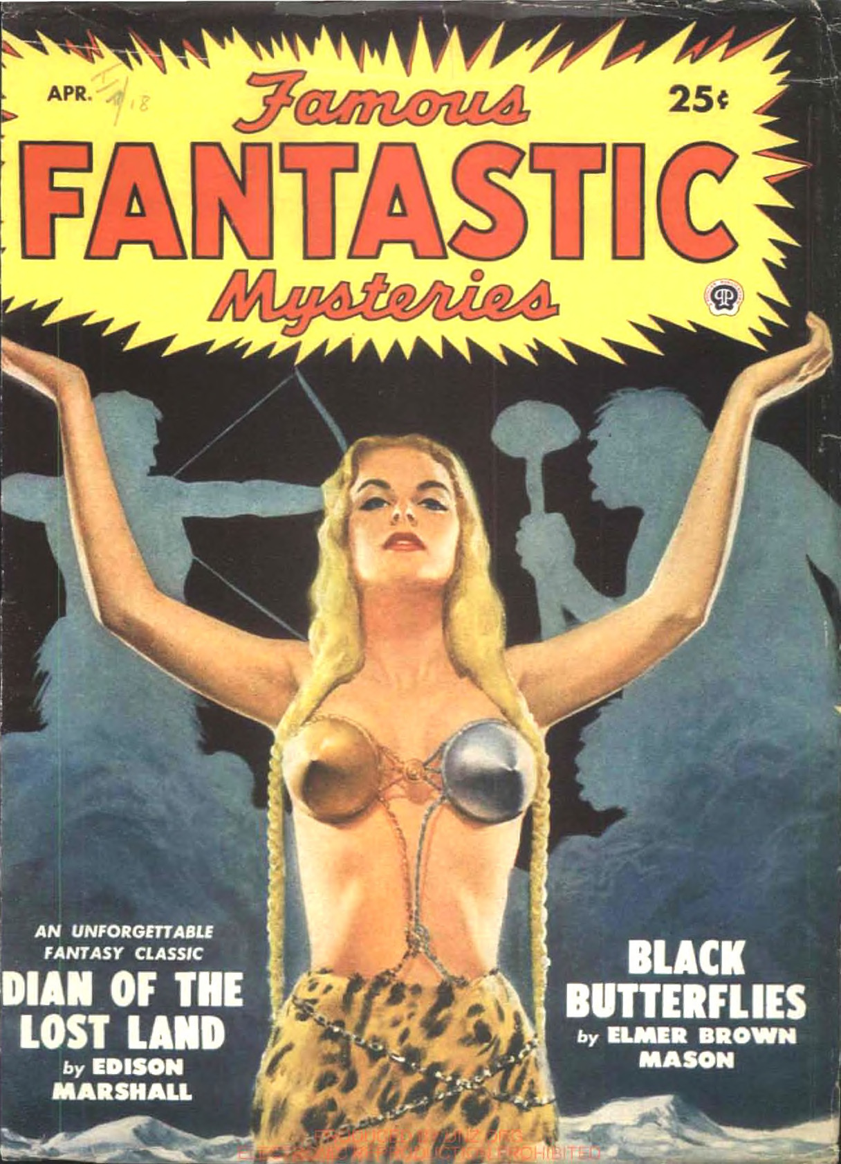A blond woman in a weird silver and gold brassiere painted by Lawrence Sterne Stevens for the cover of Famous Fantastic Mysteries, April 1949.