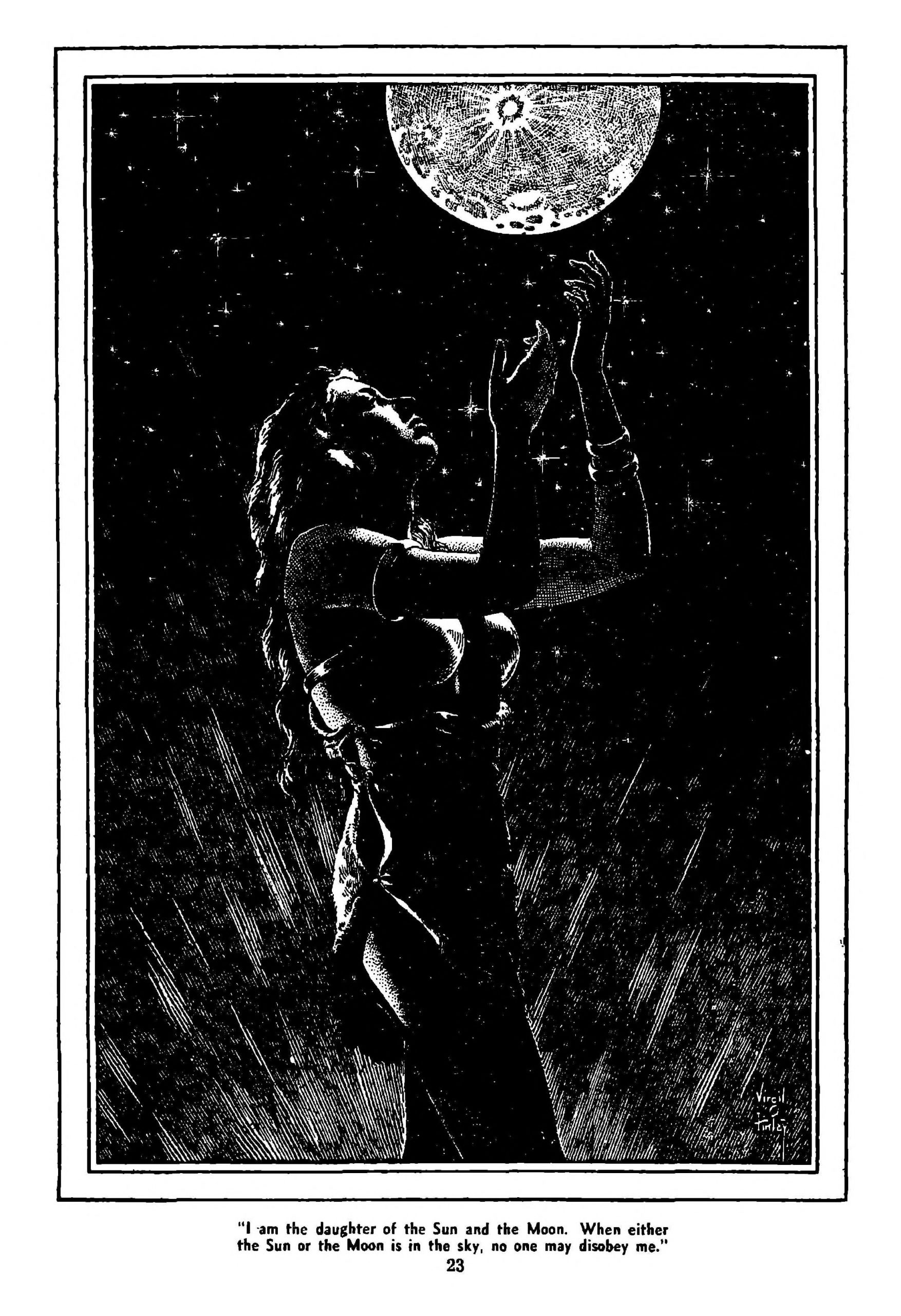 A hot woman gestures at the moon in this Virgil Finlay illustration.