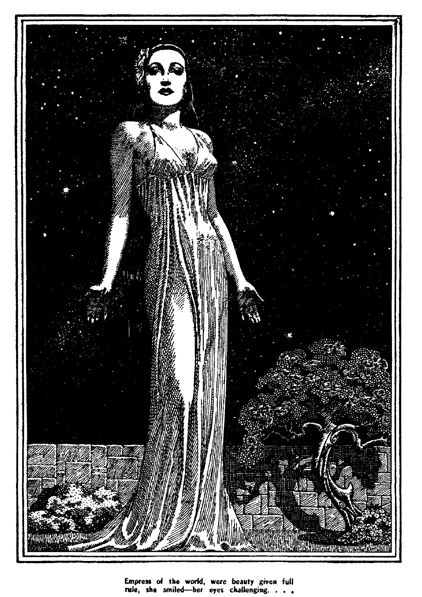 Interior art for an E.C. Vivian story, woman in a long clingy gown drawn by Lawrence Sterne Stevens.