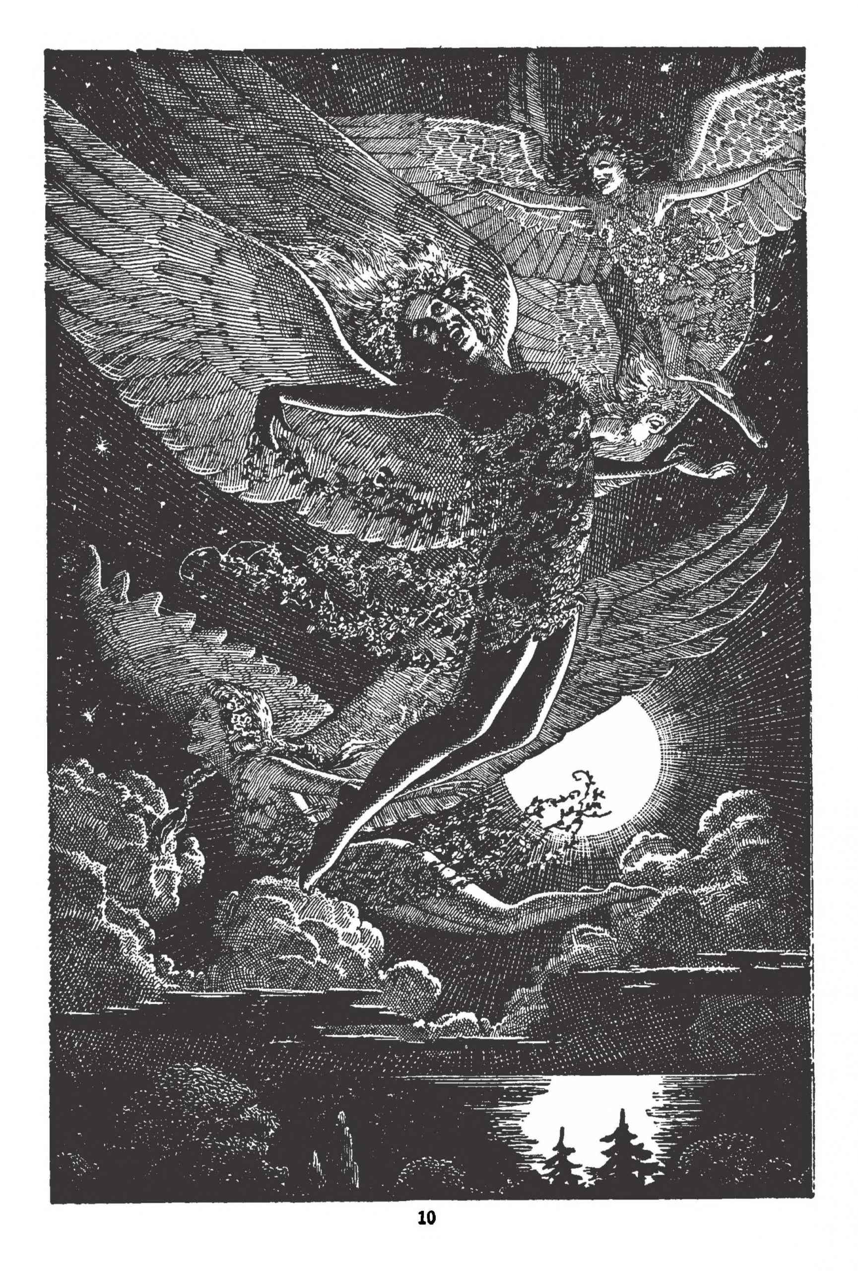 """Angels frolic in the moonlight in an illustration created by Lawrence Stern Stevens for Inez Haynes Gilmore's story """"Angel Island."""""""