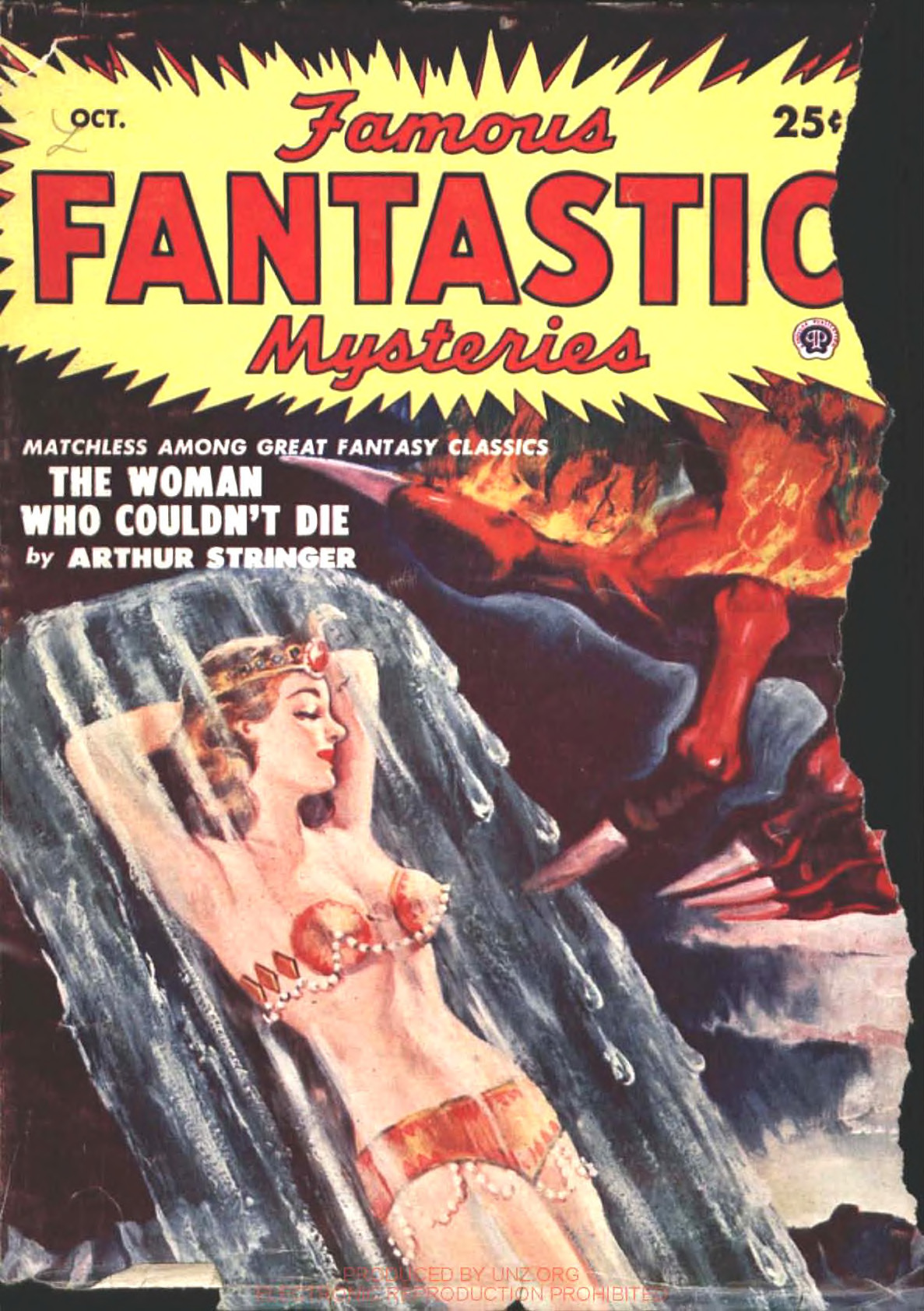 A woman frozen in a block of ice as he devil's hand reaches for her.  Cover of Famous Fantastic Mysteries October 1950, painted by Rafael DeSoto.