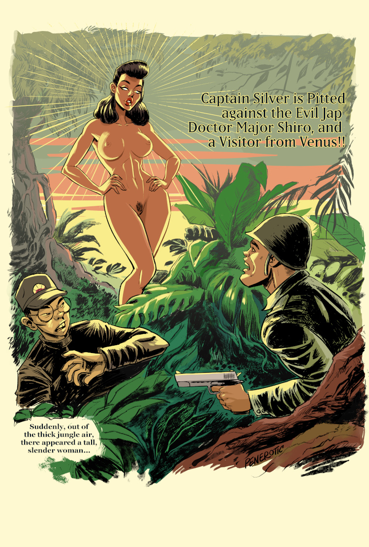 Artist penerotic recreates a pulp illustration from the Winter 1943 edition of Thrilling Wonder Stories.