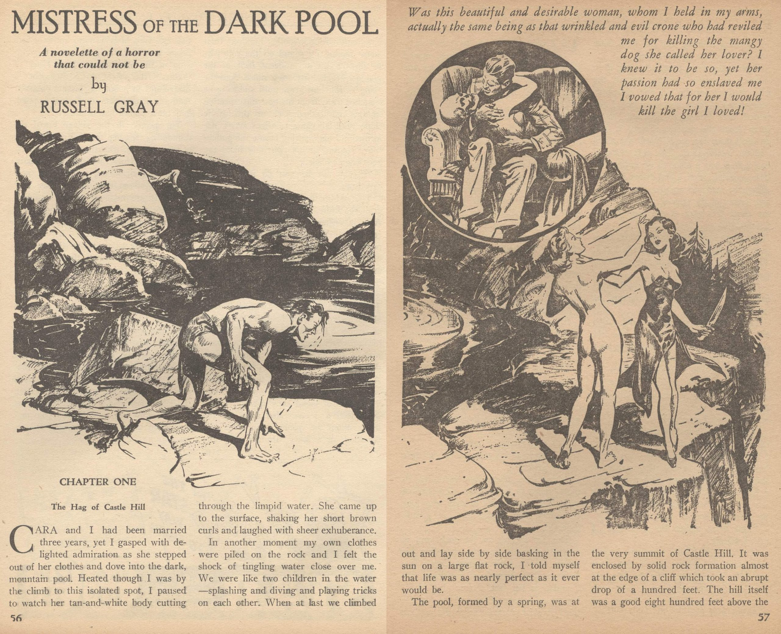 "Opening pages of Russell Gray's ""Mistress of the Dark Pool"" with unattributed cover art from the May 1940 issue of Terror Tales."