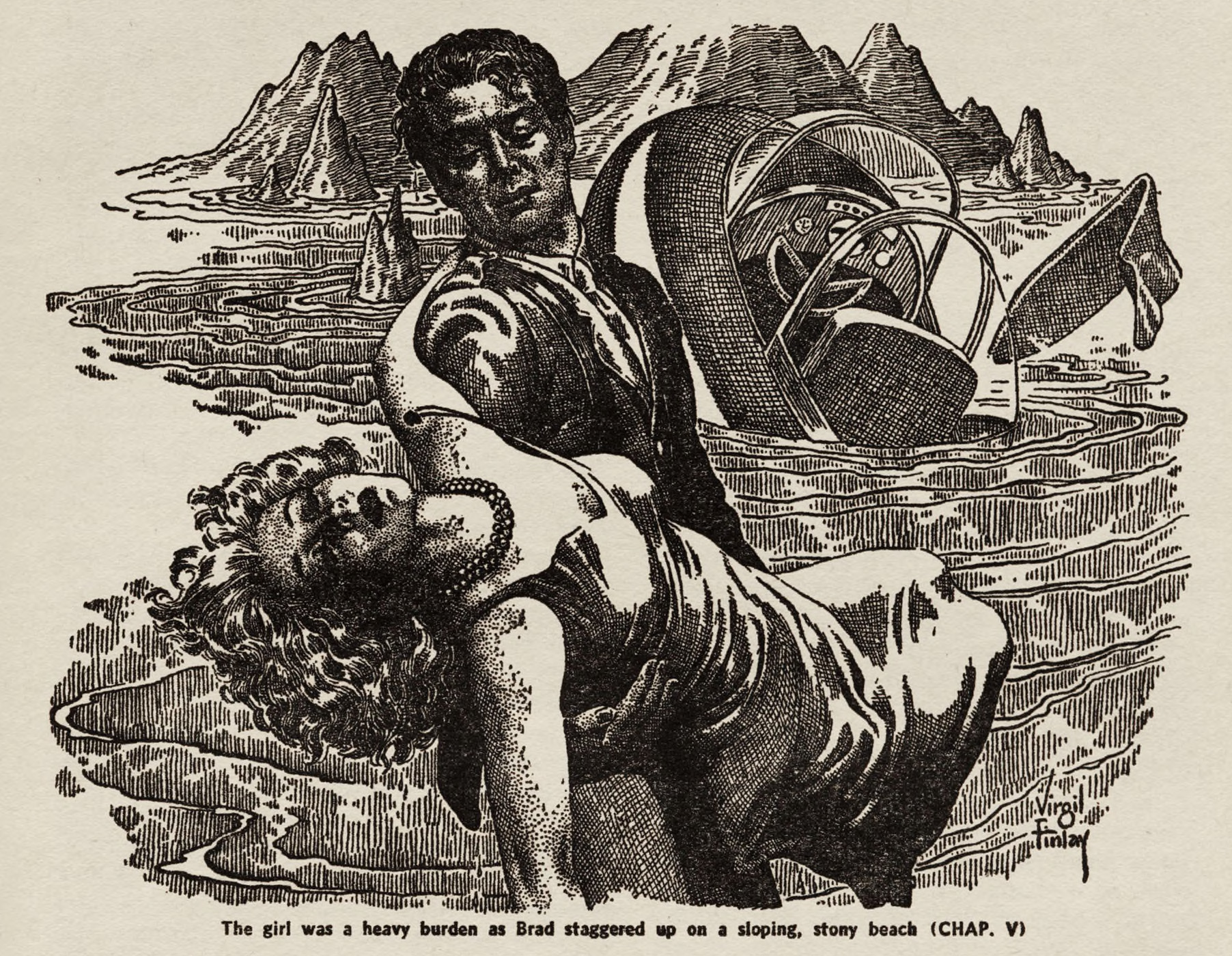 "A hero carries a scantily-clad girl up a beach from a crashed craft of some sort.  Virgil Finlay illustration for Arthur Leo Zagat's story ""The Faceless Men."