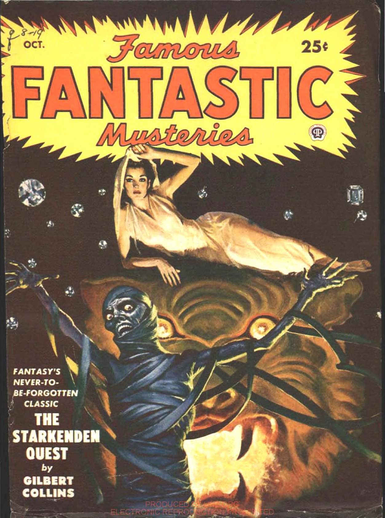 A woman atop a giant tiger's head and a zombie, or something, in Lawrence Sterne Stevens's cover for Famous Fantastic Mysteries, October 1949.