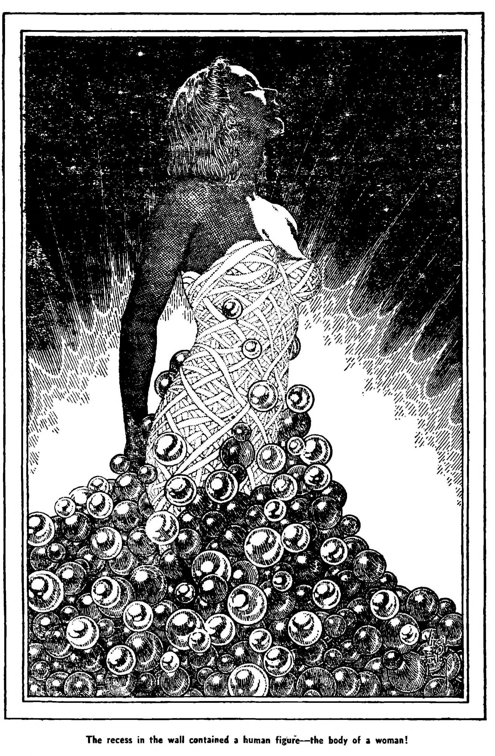 A wrapped woman in a tower of bubbles in an illustration by Virgil Finlay.