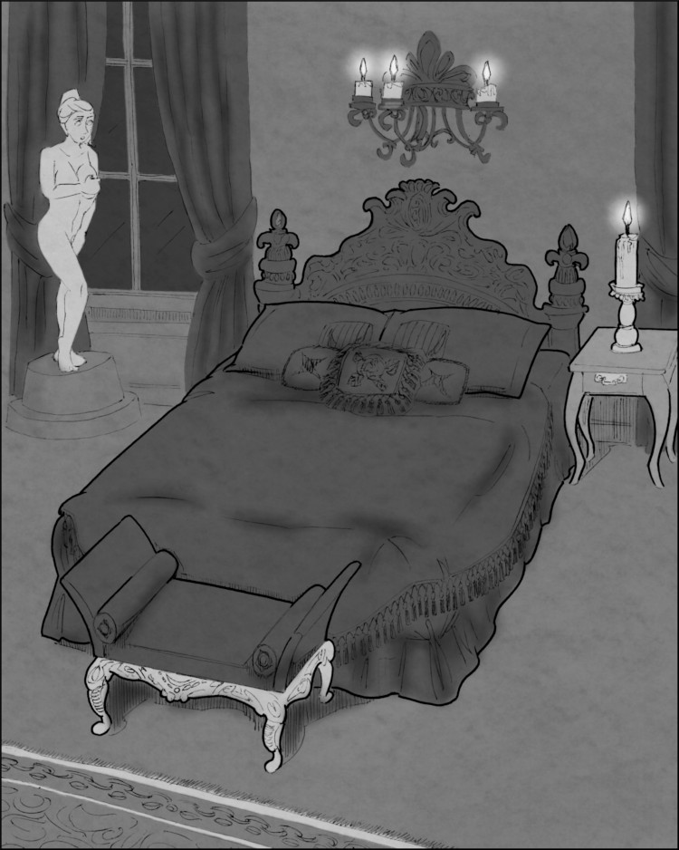 """Uncle Luigi's baroque bedchamber, which somehow contains the """"statue"""" of the unfortunate Angelique Porpulac."""