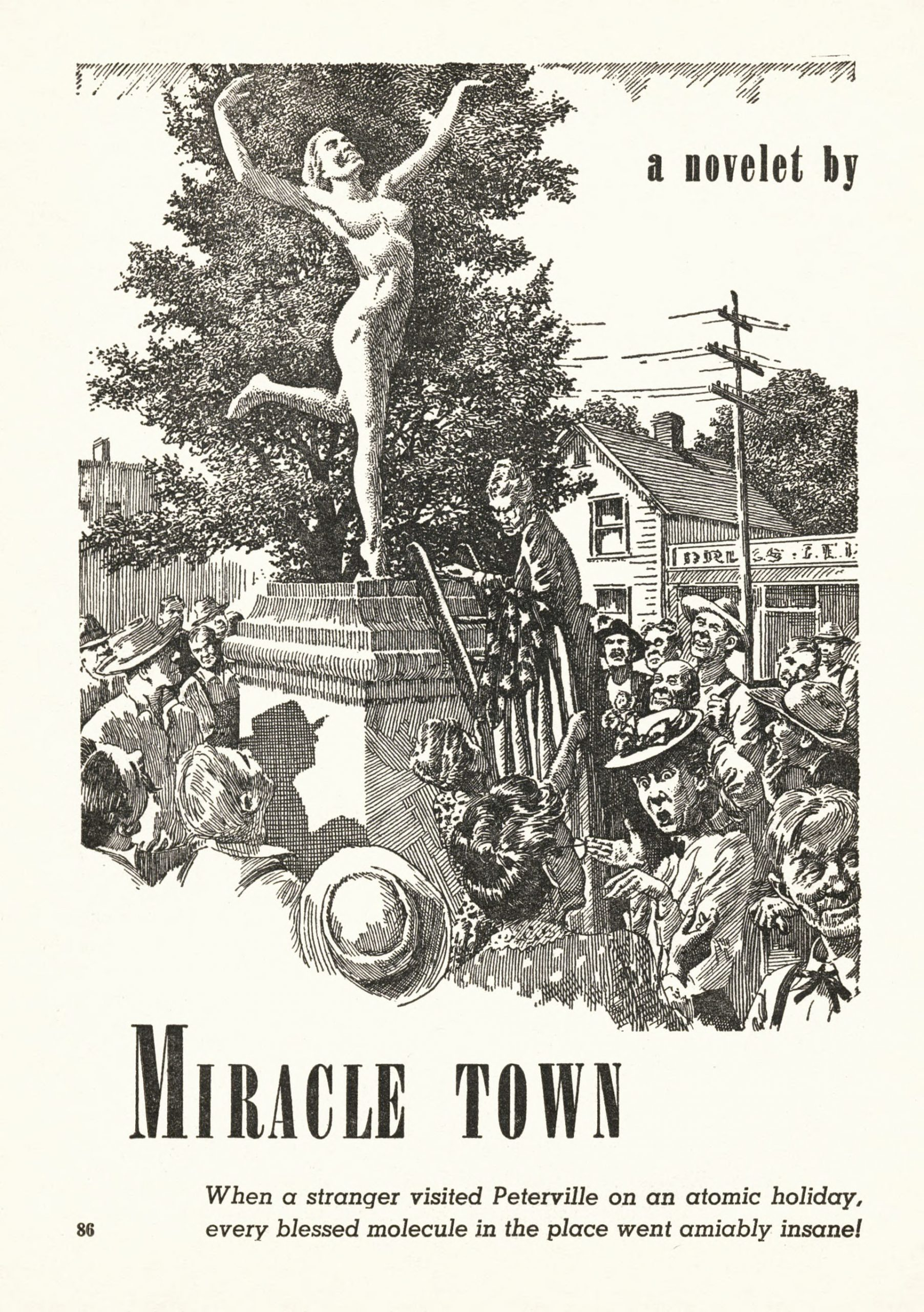 "A statue of a nude nymph scandalizes the residents of a small town.  Illustration by Virgil Finlay for William F. Castle's story ""Miracle Town."""