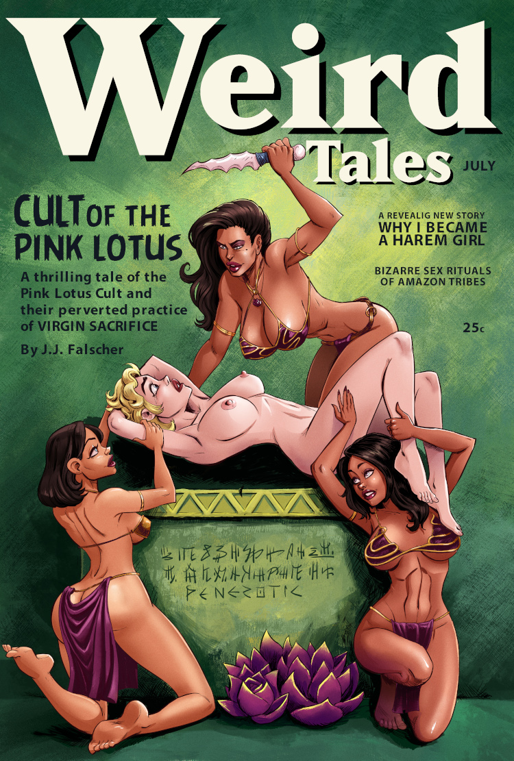 In a recreation of a famous Margaret Brundage cover, artist Penerotic recreates a scene of three voluptuous women sacrificing a third on an altar.