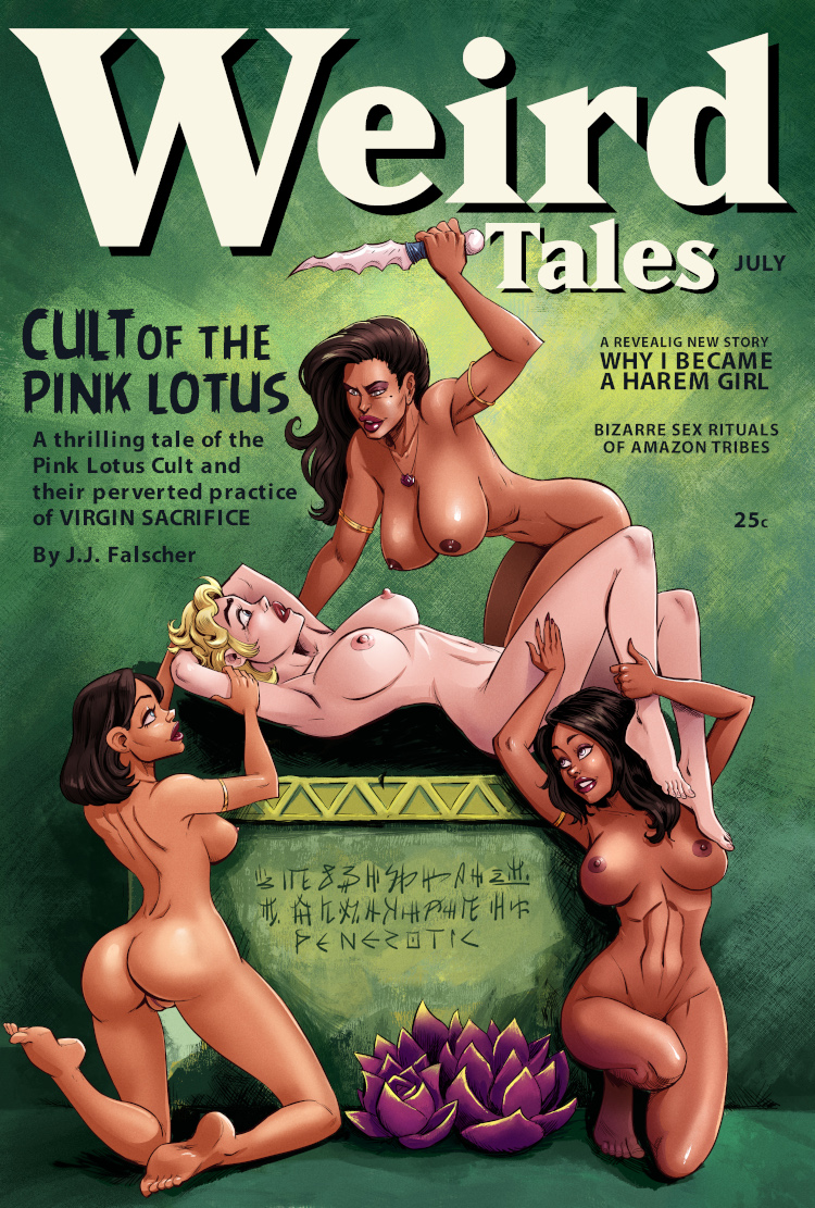 An all-nude version of Penerotic's recreation of a Margaret Brundage Weird Tales cover.