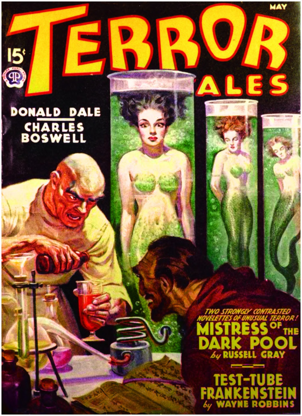 Women in tubes turning into mermaids under the direction of a mad scientist.  Cover of May 1940 Terror Tales by Rafael DeSoto.