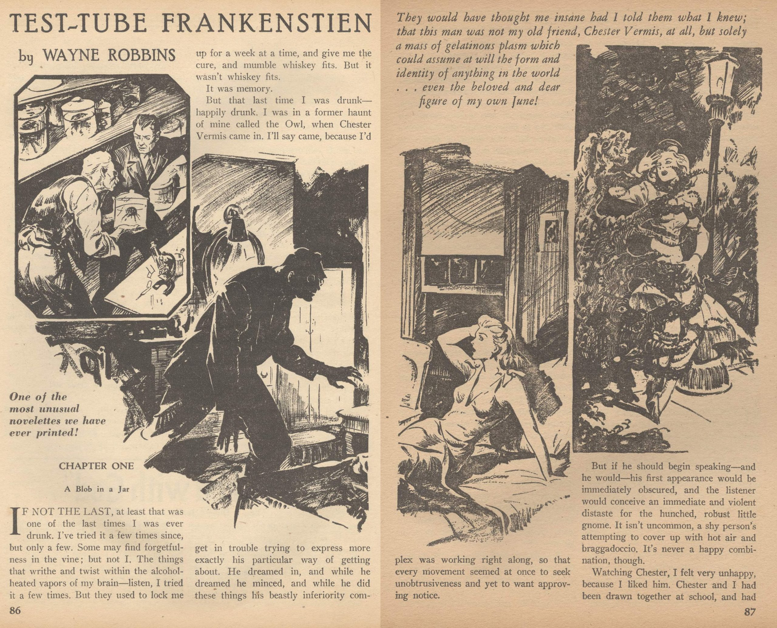 "Opening pages of Wayne Robbins's ""Test-Tub Frankenstein"" in the May 1940 issue of Terror Tales, with unattributed interior art."