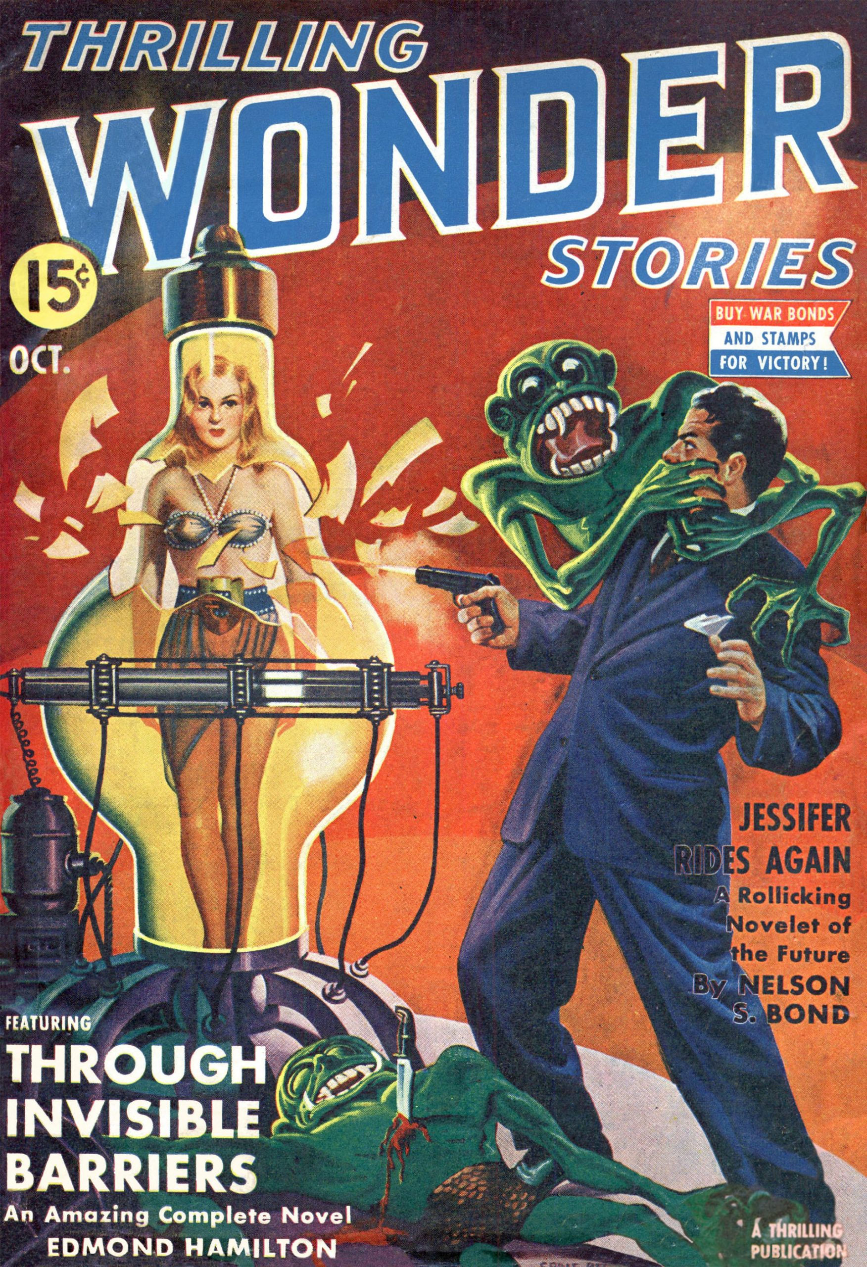 A scientist shoots a scantily-clad woman out of a tube while a simian creature assaults him from behind.