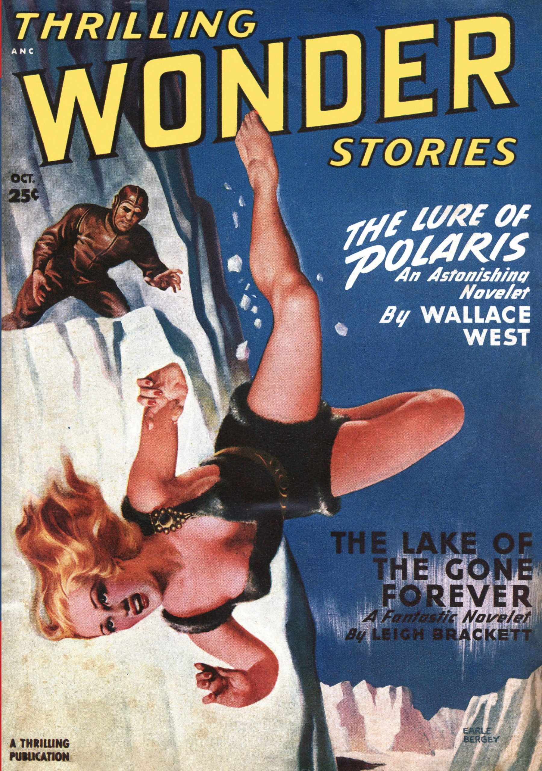 A scantily-clad woman falls from an icy cliff in this cover for the October 1949 Thrilling Wonder Stories by Earle Bergey.