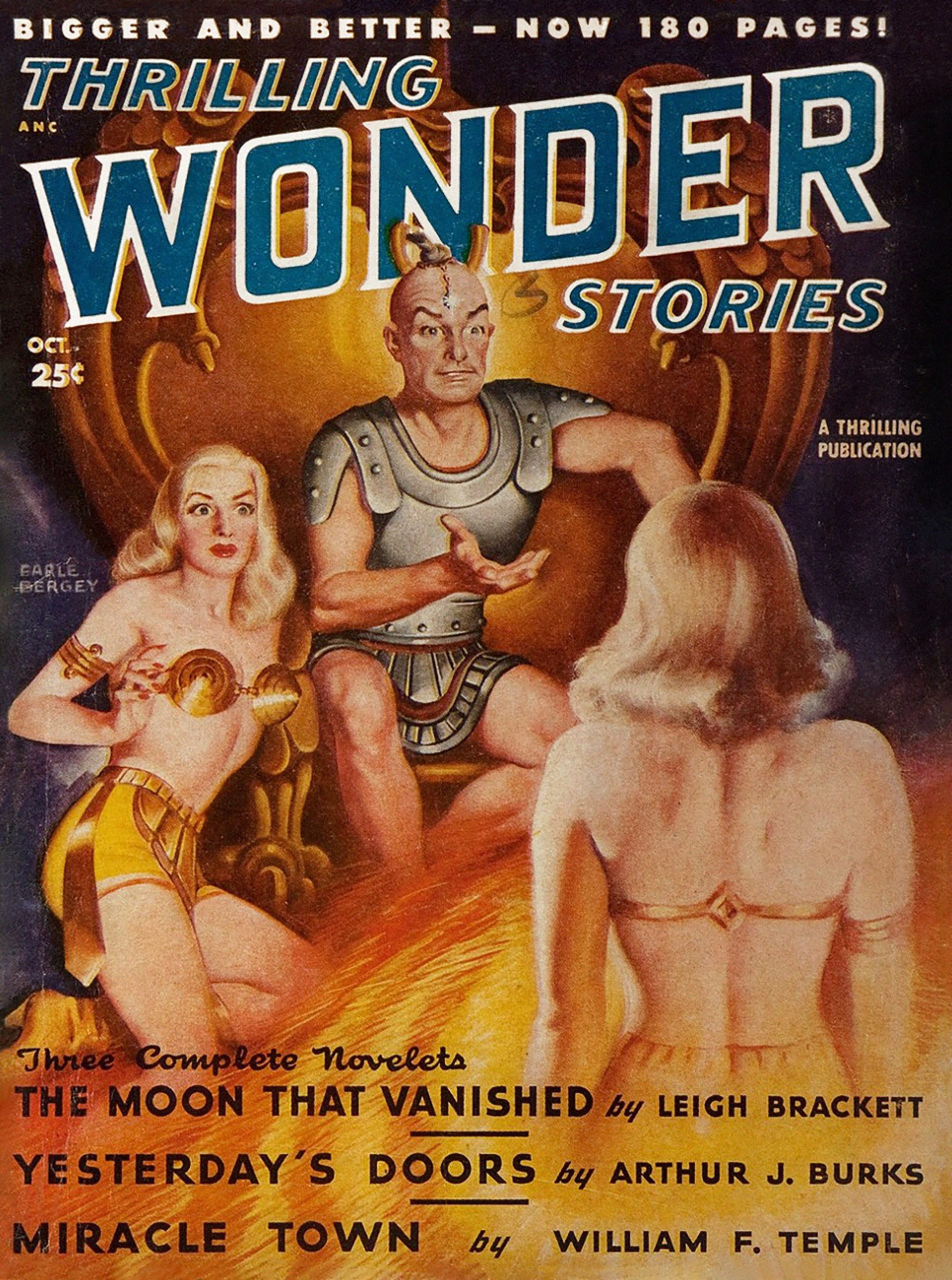 Scantily-clad space girl confronts her double on the October 1948 cover of Thrilling Wonder Stories, painted by Earle Bergey.