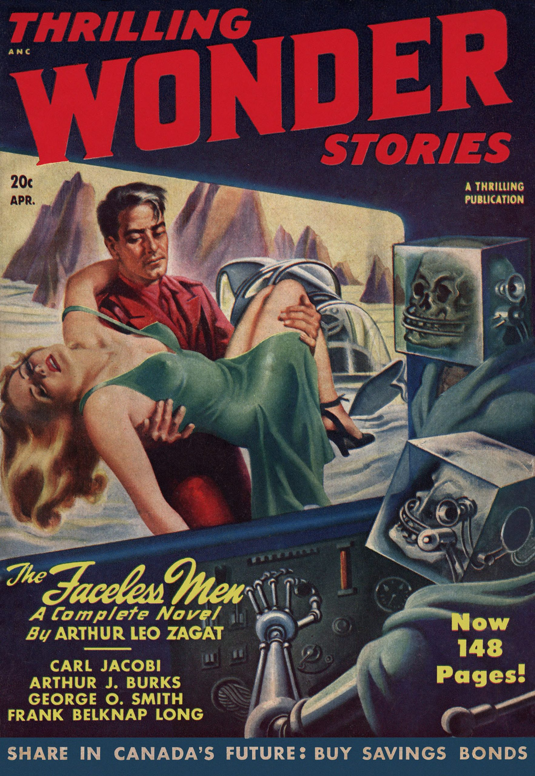 Strange skull-head men in cubic helmets watch a hero-guy carry a begowned cutie across and arctic landscape.  Earle Bergey cover painting for Thrilling Wonder Stories April 1948.