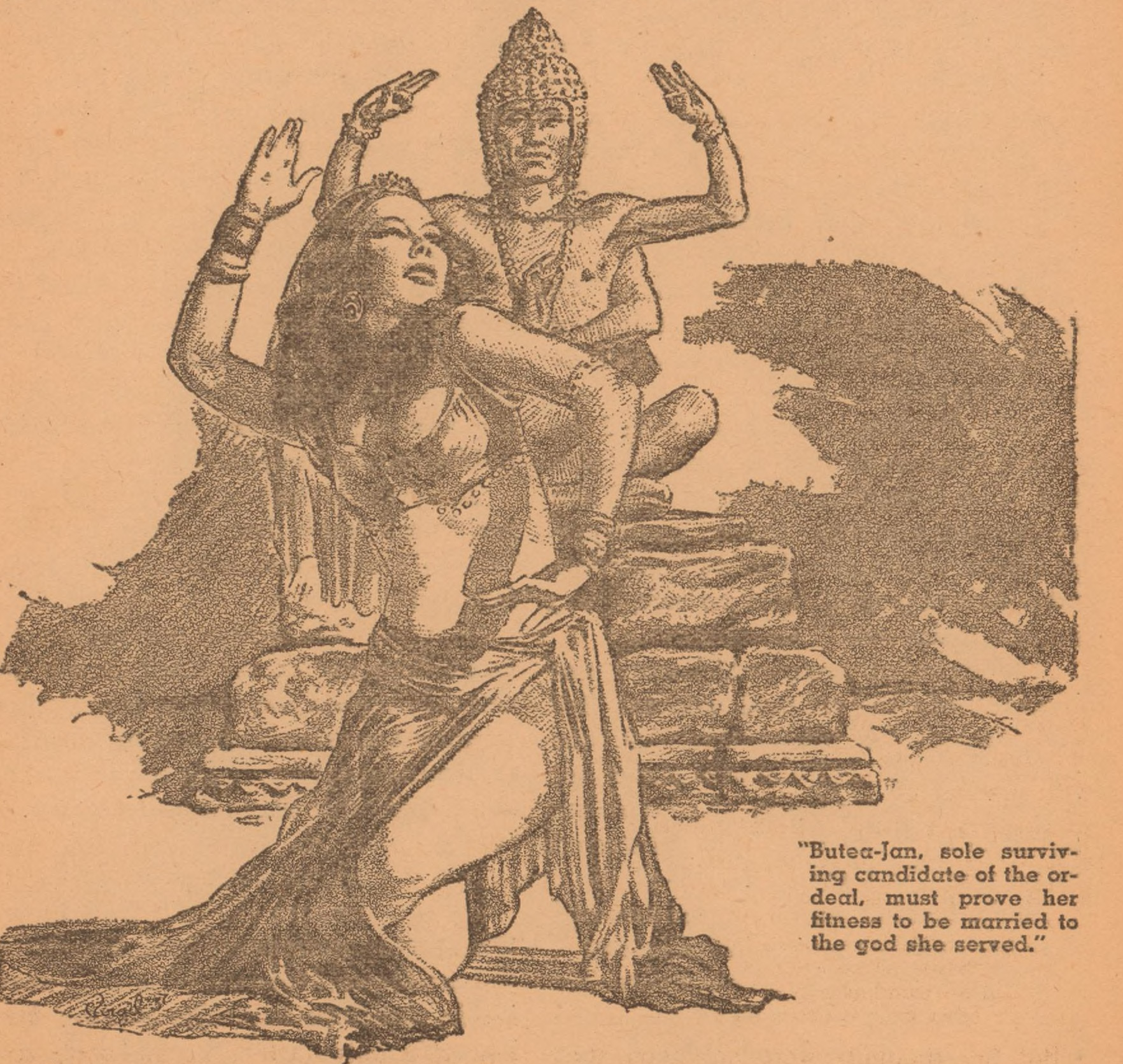 "An exotic oriental dancer created by Virgil Finlay in illustration of Seabury Quinn's story ""The Temple Dancer."""