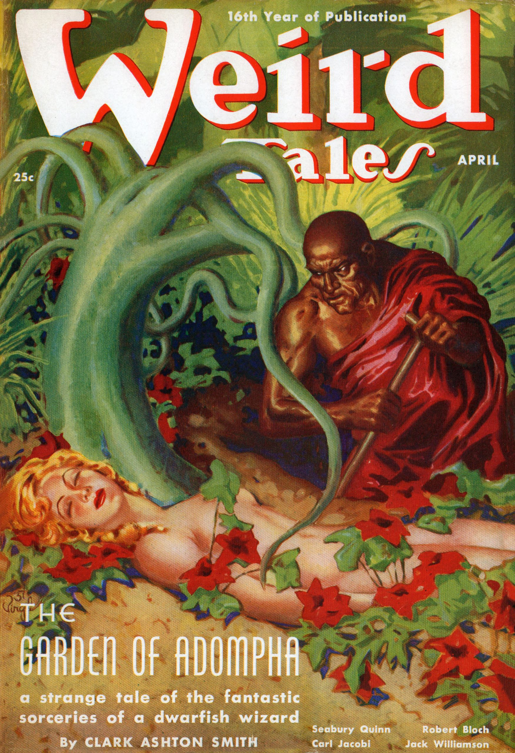 "A mad king comes across a nude beauty in his insane flesh-garden.  Virgil Finlay's cover illustration for ""The Garden of Adompha."""