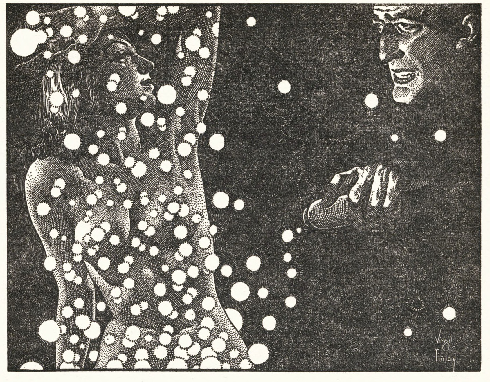 "A nude woman obscured with bubbles in an interior illustration by Virgil finlay for Arthur J. Burks's story ""Yesterday's Doors."""