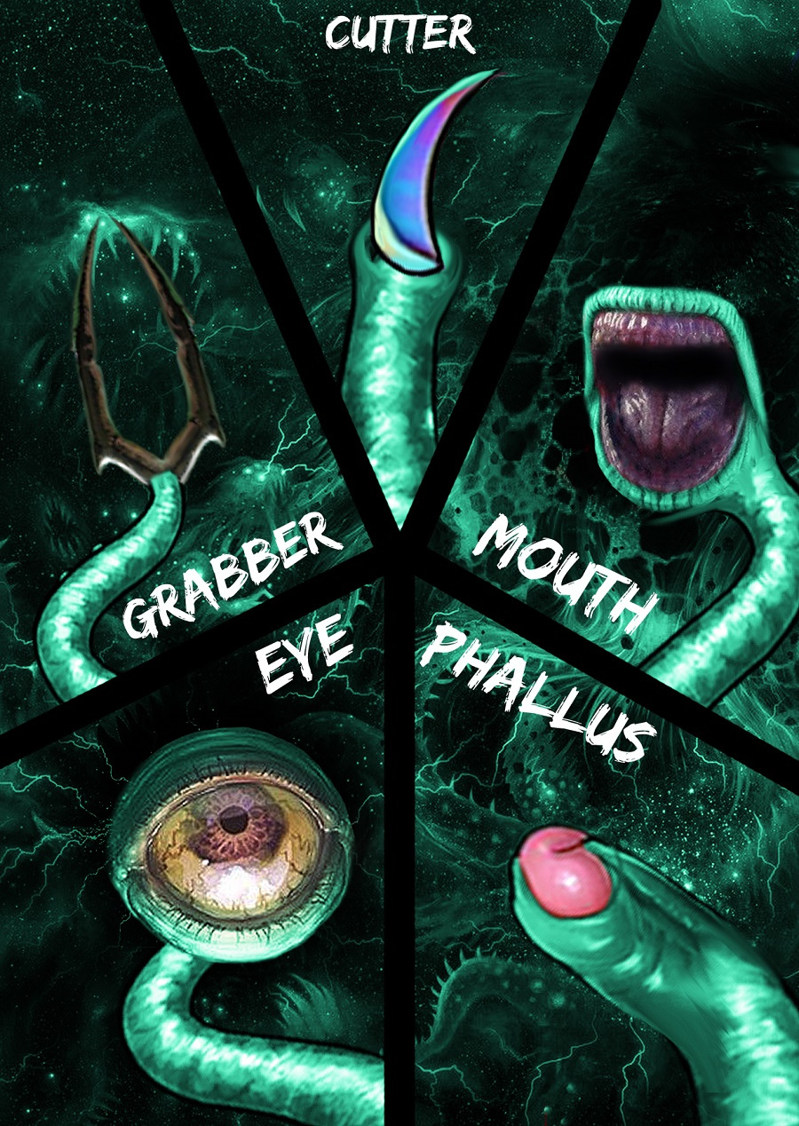 Cutter, Grabber, Eye, Mouth, and Phallus tentacles associated with the Gynophage.  Concept art by Rafael Suzarte.
