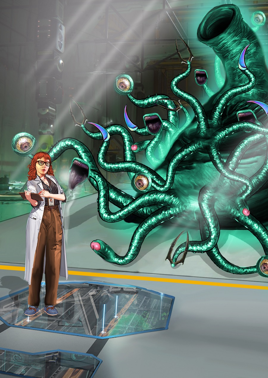 A researcher stands near the creature/Gynophage.
