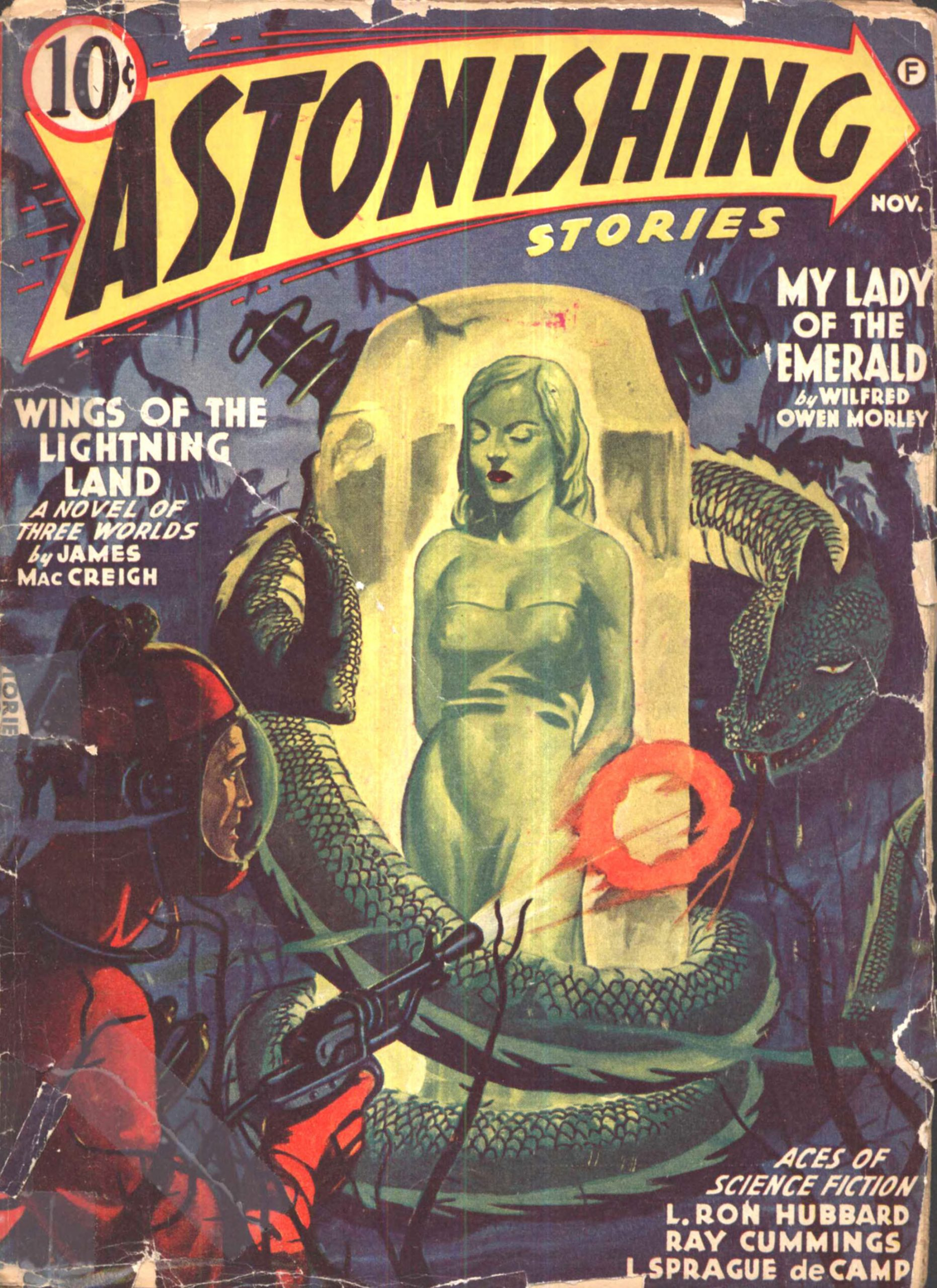 A woman encased in a giant emerald, in an unattributed cover for the November 1941 cover of Astonishing Stories.