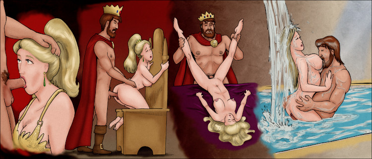 The Burger King, his many prowess restored, goes at it with his slave girl.