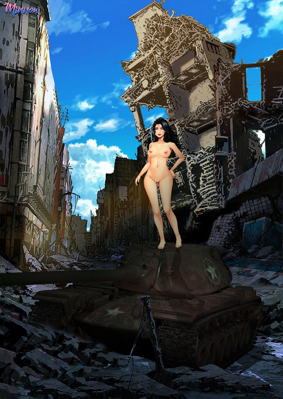 Minnow explores a ruined city and clambers up on a burned out tank.