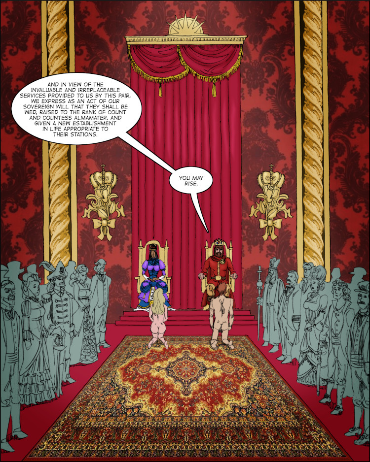 In the movie within the comic, Ivor and Lucy are presented to the King and his court.