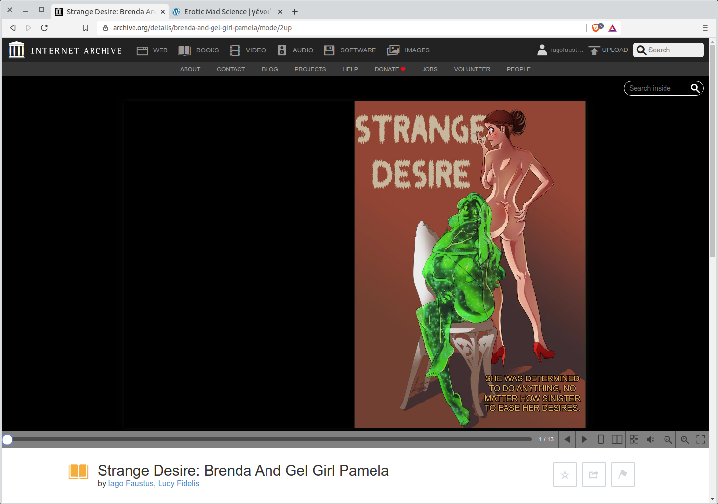 Screenshot of the Internet Archive page for Brenda and Gel Girl Pmela