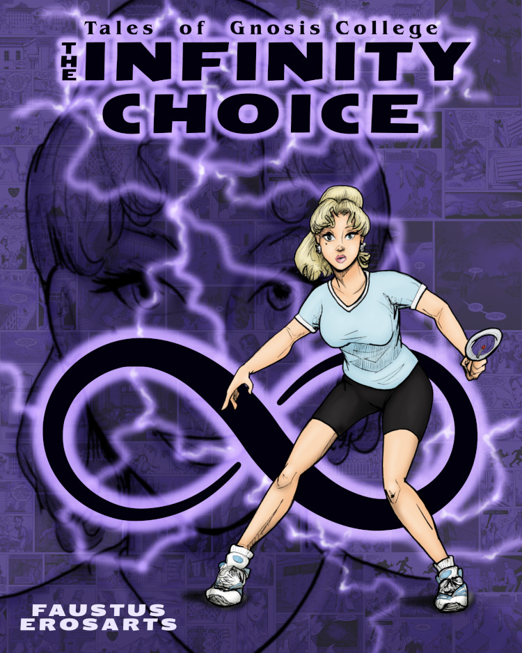 Casey Winsome looks a bit startled by something on the cover of Infinity Choice.