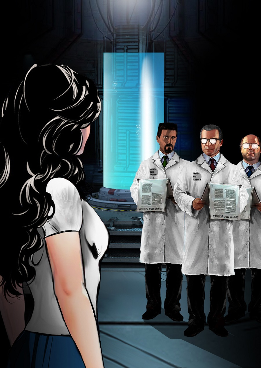 A young woman confronts a group of scientist in front of an ominous-looking tube.