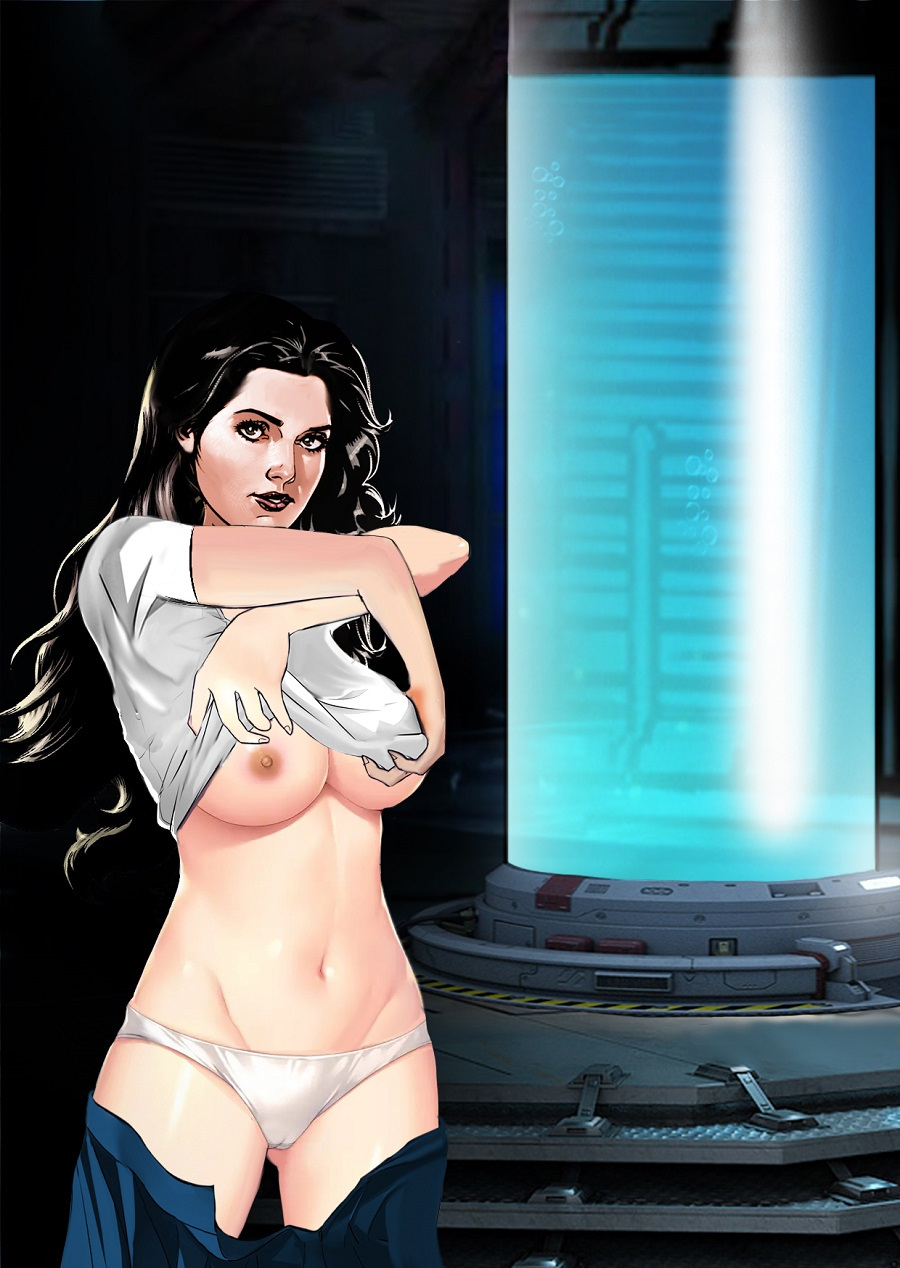 Our heroine removes her clothes, as a good heroine at Erotic Mad Science should.