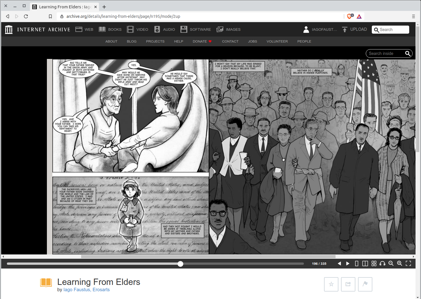 Esther narrates her belief in America for the spread on the Internet Archive screenshot page of Learning from Elders.