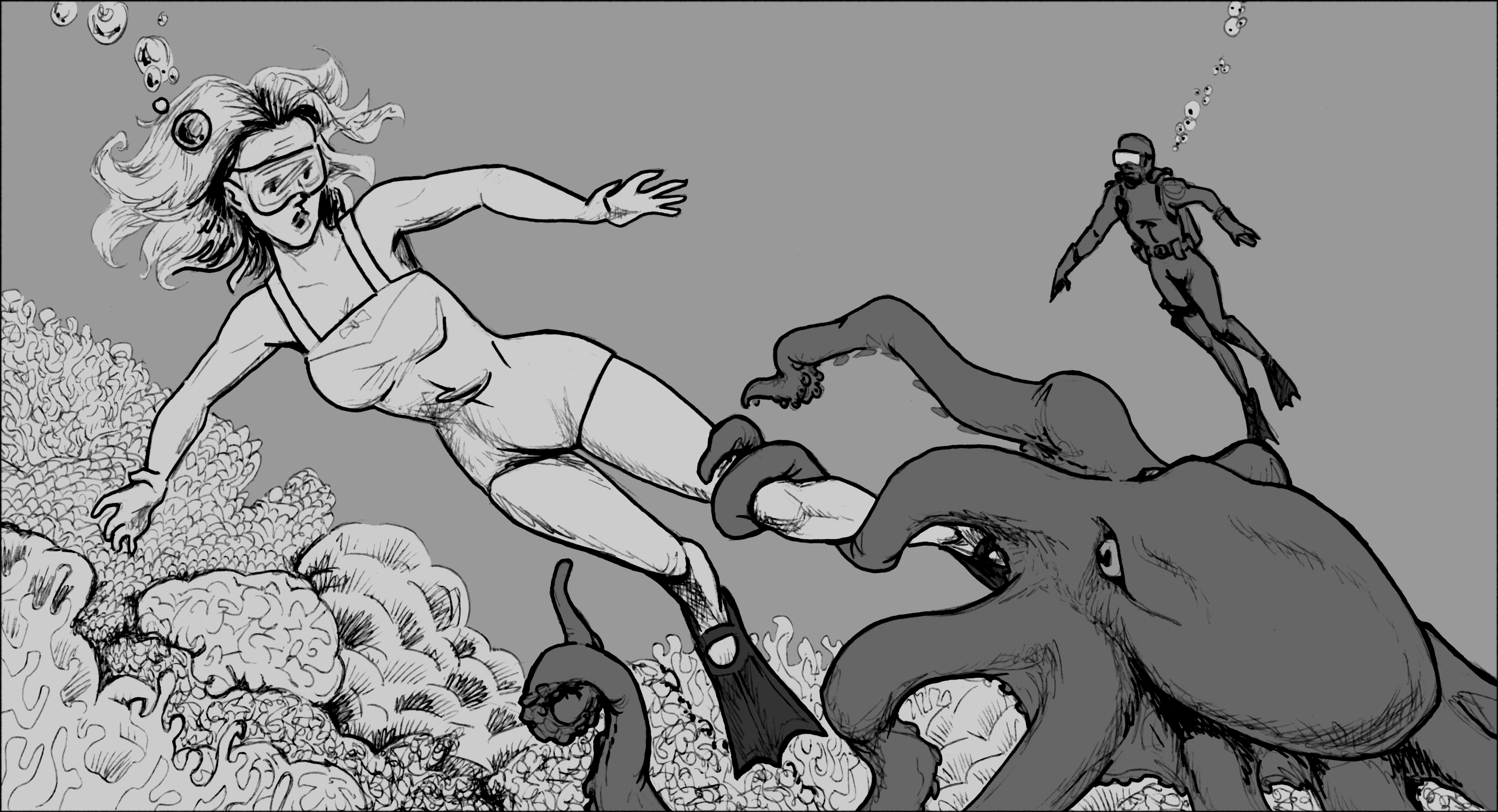 1950s heroine menaced by a hungry or horny octopus.