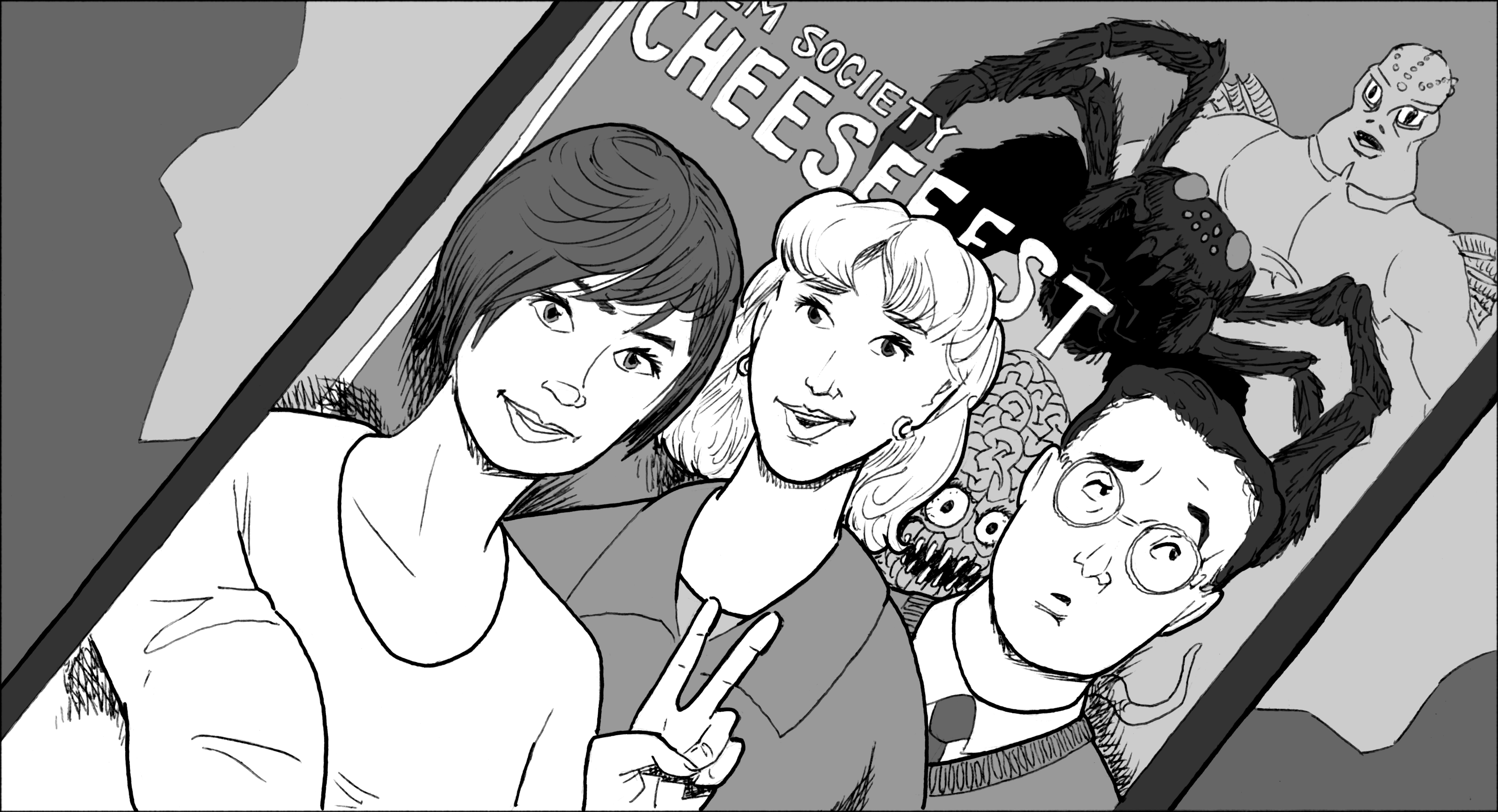 Toozie, Miranda, and Sherman take a selfie at Cheesefest.