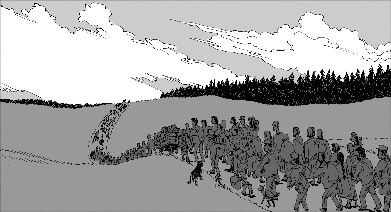 A parade of glum refugees.