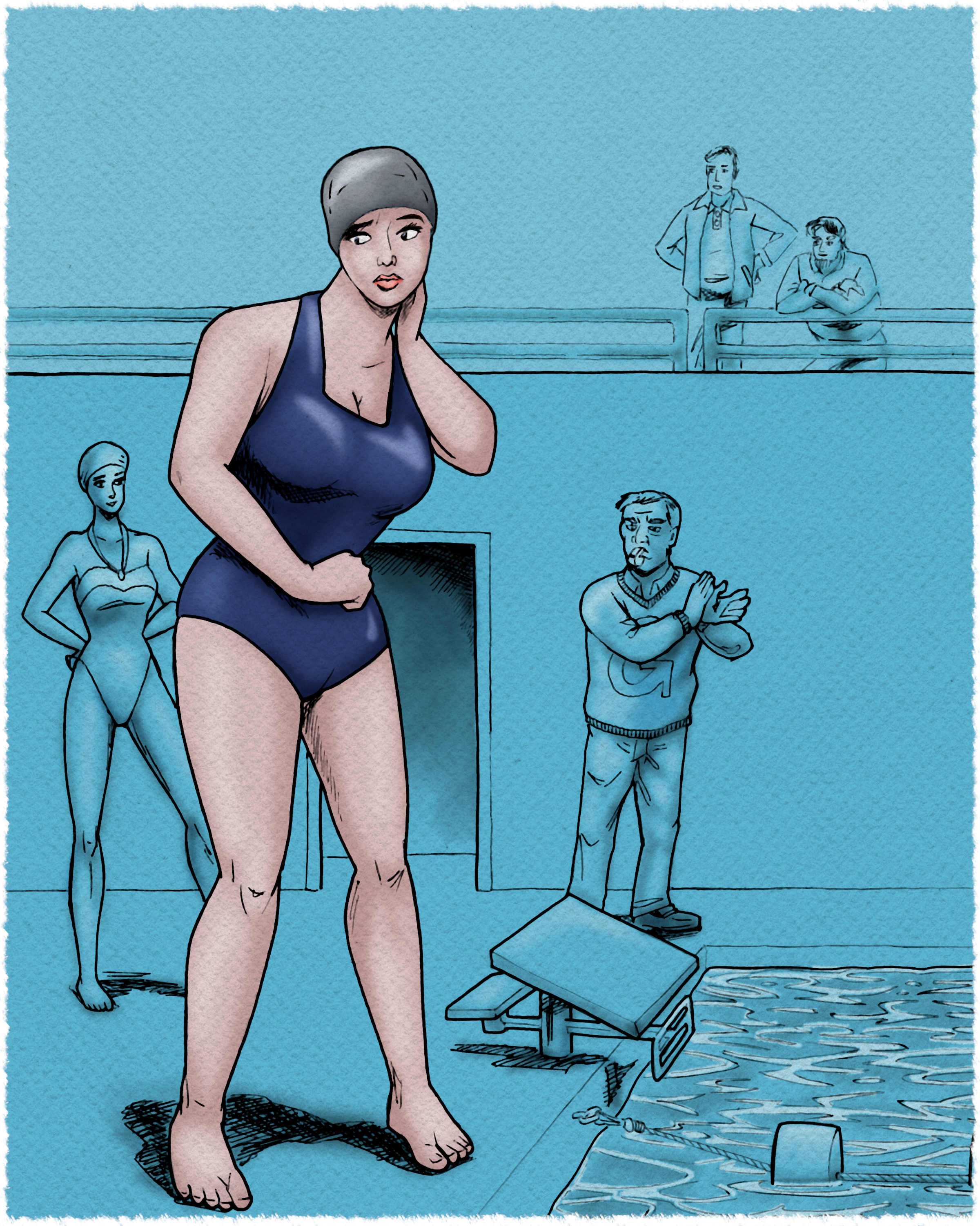 Bryony sure does not like doing her Gnosis College swim test.