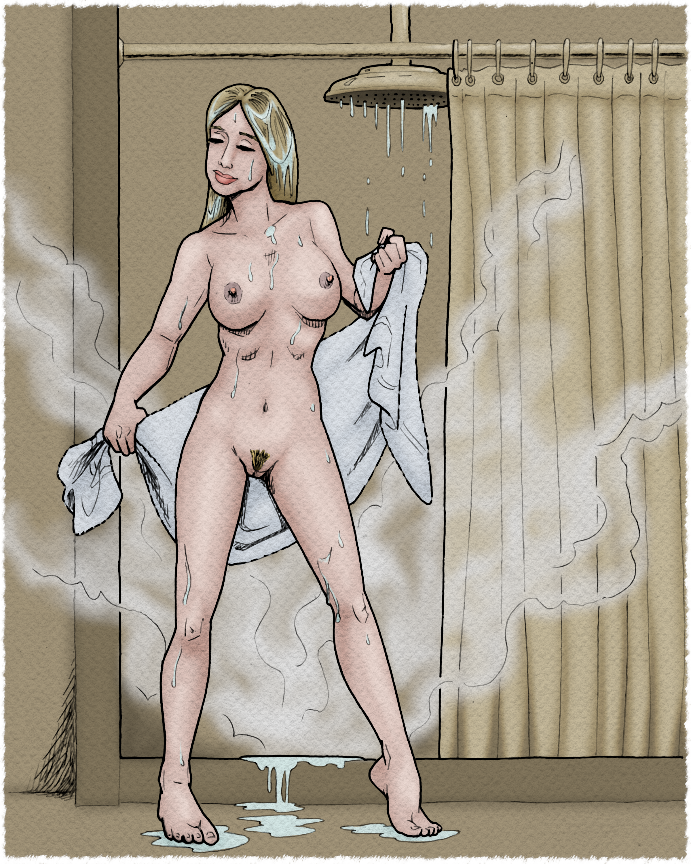 Beautiful Kim emerges from the shower.