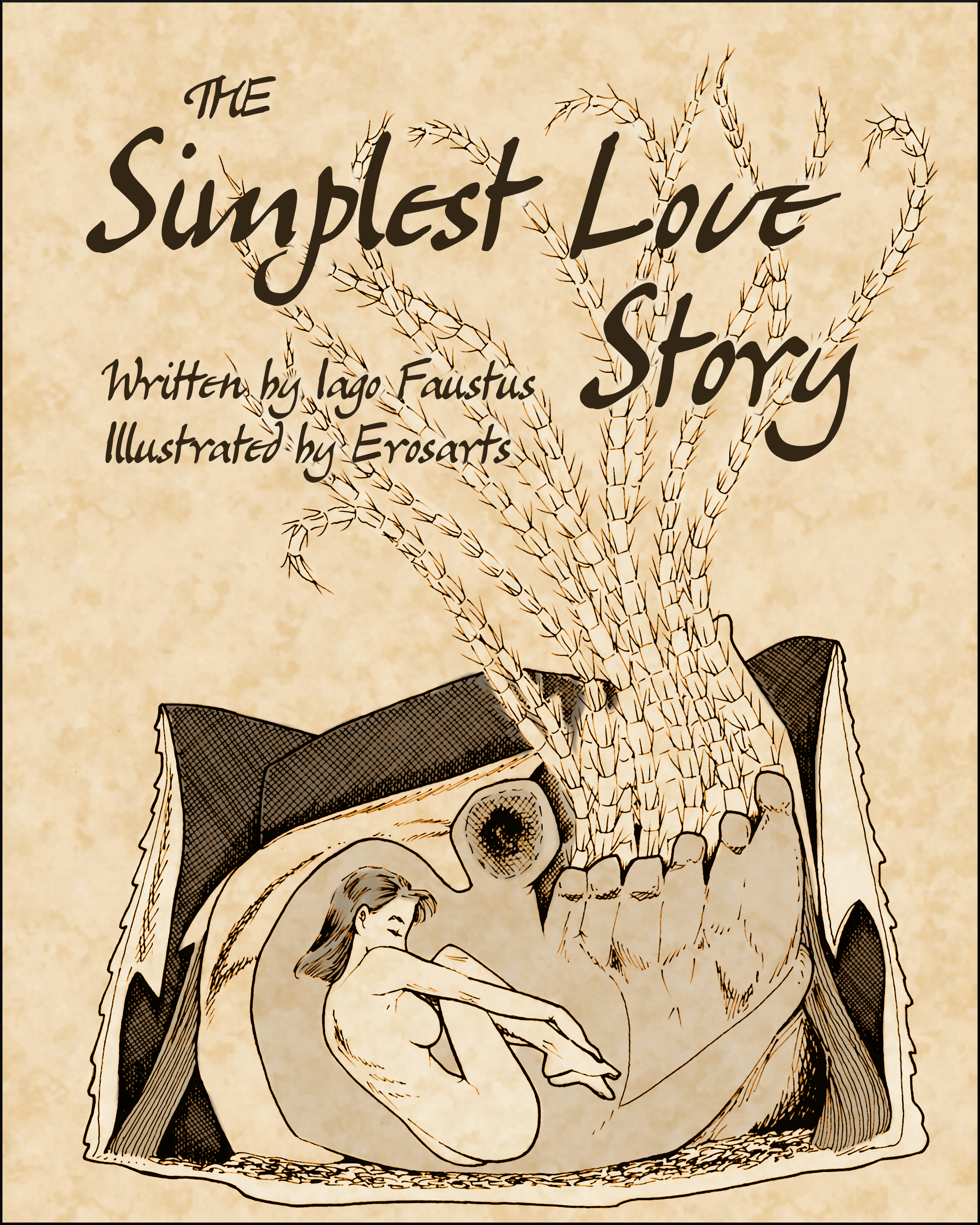 Abigail Nozhy curls up with a barnacle on the cover of the short Tales of Gnosis College cover The Simplest Love Story.